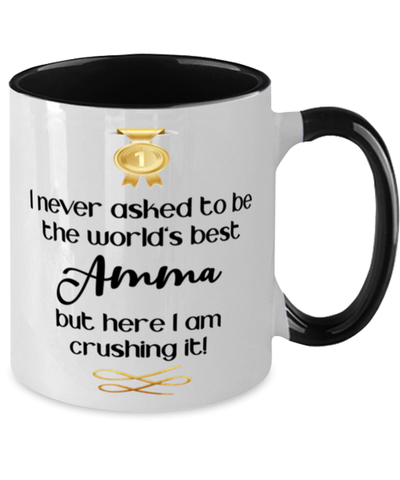 Amma World's Best Mug Crushing it 11 oz Two-Toned Coffee Cup