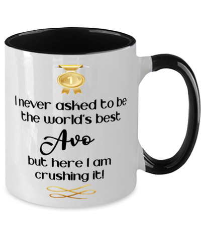 Avo World's Best Mug Crushing it 11 oz Two-Toned Coffee Cup