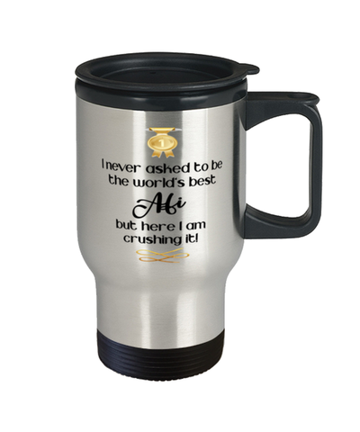 Afi World's Best Travel Mug Crushing it 14 oz Coffee Cup