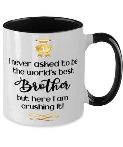 Brother World's Best Mug Crushing it 11 oz Two-Toned Coffee Cup