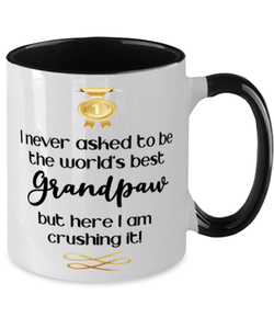 Grandpaw World's Best Mug Crushing it 11 oz Two-Toned Coffee Cup