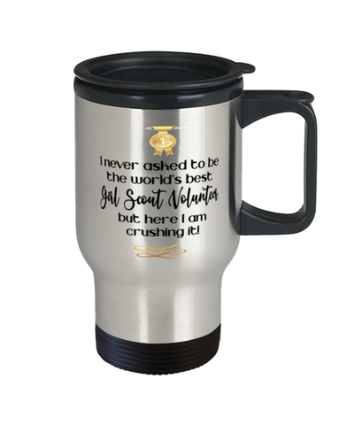 Image of Girl Scout Volunteer World's Best Travel Mug Occupation Crushing it 14 oz Coffee Cup