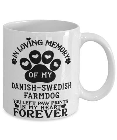 Danish-Swedish Farmdog Dog Mug Pet Memorial You Left Pawprints in My Heart Coffee Cup