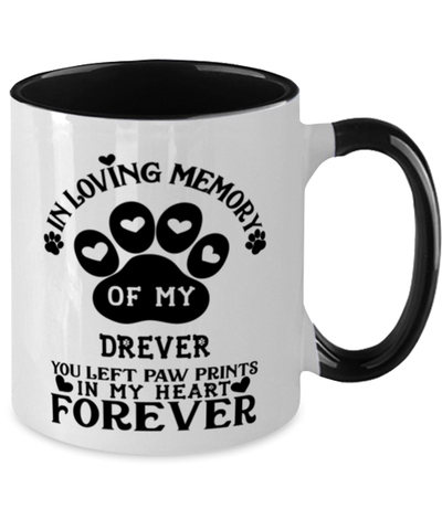 Drever Dog Mug Pet Memorial You Left Pawprints in My Heart Two-Toned Coffee Cup