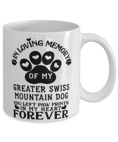 Image of Greater Swiss Mountain Dog Mug Pet Memorial You Left Pawprints in My Heart Coffee Cup