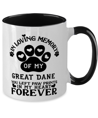 Image of Great Dane Dog Mug Pet Memorial You Left Pawprints in My Heart Two-Toned Coffee Cup