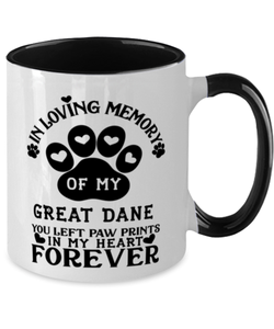 Great Dane Dog Mug Pet Memorial You Left Pawprints in My Heart Two-Toned Coffee Cup