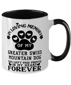 Greater Swiss Mountain Dog Mug Pet Memorial You Left Pawprints in My Heart Two-Toned Coffee Cup