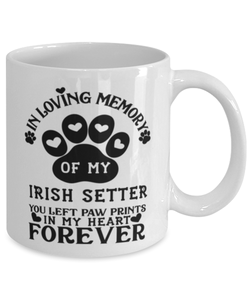 Irish Setter Dog Mug Pet Memorial You Left Pawprints in My Heart Coffee Cup