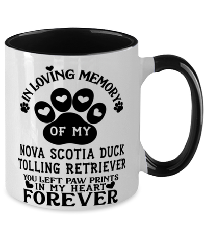 Image of Nova Scotia Duck Tolling Retriever Dog Mug Pet Memorial You Left Pawprints in My Heart Two-Toned Coffee Cup