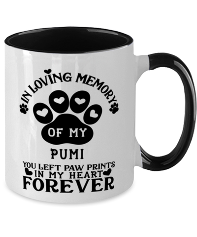 Image of Pumi Dog Mug Pet Memorial You Left Pawprints in My Heart Two-Toned Coffee Cup
