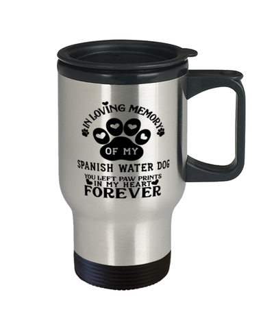 Image of Spanish Water Dog Dog Travel Mug Pet Memorial You Left Pawprints in My Heart Coffee Cup