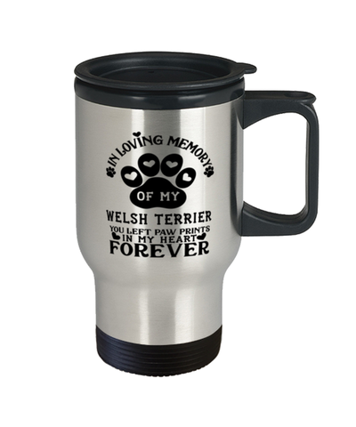 Image of Welsh Terrier Dog Travel Mug Pet Memorial You Left Pawprints in My Heart Coffee Cup