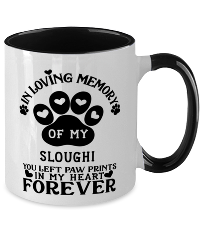 Image of Sloughi Dog Mug Pet Memorial You Left Pawprints in My Heart Two-Toned Coffee Cup