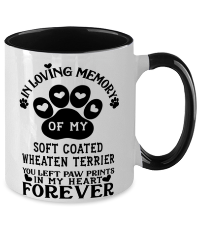 Image of Soft Coated Wheaten Terrier Dog Mug Pet Memorial You Left Pawprints in My Heart Two-Toned Coffee Cup