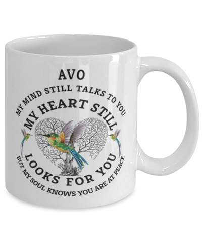 Image of Avo In Loving Memory Mug Hummingbird My Mind Talks To You Memorial Keepsake Cup