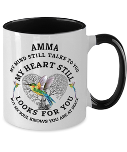 Amma In Loving Memory Mug Hummingbird My Mind Talks To You Memorial Keepsake Two-Toned Cup