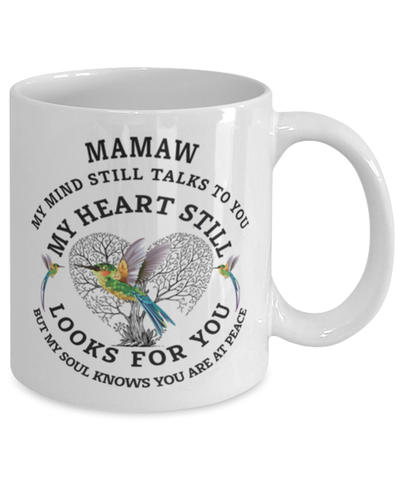 Image of Mamaw In Loving Memory Mug Hummingbird My Mind Talks To You Memorial Keepsake Cup