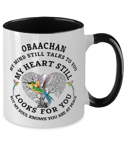 Image of Obaachan In Loving Memory Mug Hummingbird My Mind Talks To You Memorial Keepsake Two-Toned Cup