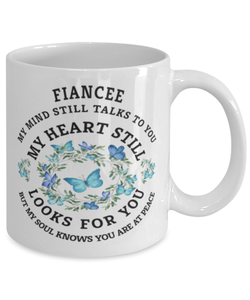 Fiancee In Loving Memory Mug Butterfly My Mind Talks To You Memorial Keepsake Cup