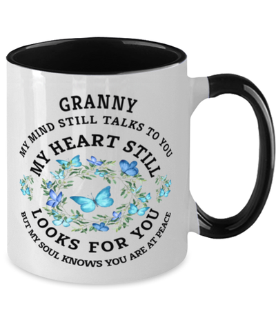 Image of Granny In Loving Memory Mug Butterfly My Mind Talks To You Memorial Keepsake Two-Toned Cup