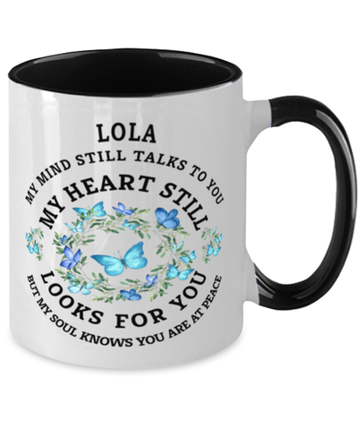 Image of Lola In Loving Memory Mug Butterfly My Mind Talks To You Memorial Keepsake Two-Toned Cup