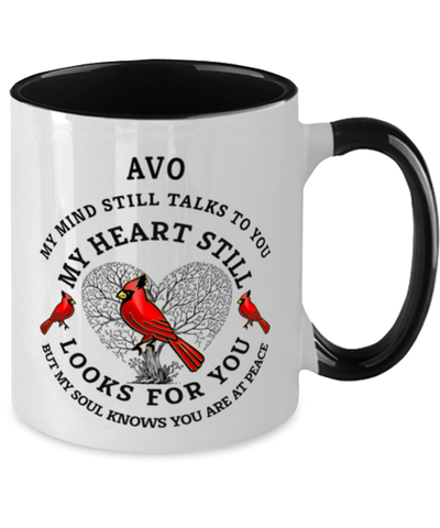 Image of Avo In Loving Memory Mug Cardinal My Mind Talks To You Memorial Keepsake Two-Toned Cup