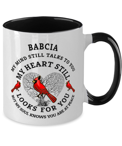 Babcia In Loving Memory Mug Cardinal My Mind Talks To You Memorial Keepsake Two-Toned Cup