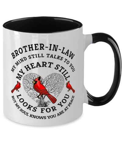 Image of Brother-in-law In Loving Memory Mug Cardinal My Mind Talks To You Memorial Keepsake Two-Toned Cup