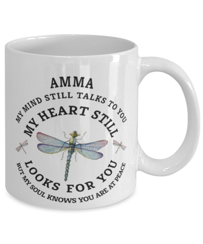 Amma In Loving Memory Mug Dragonfly My Mind Talks To You Memorial Keepsake Cup