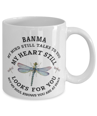 Image of Banma In Loving Memory Mug Dragonfly My Mind Talks To You Memorial Keepsake Cup