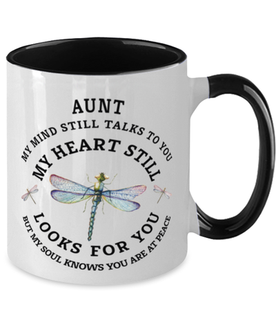 Aunt In Loving Memory Mug Dragonfly My Mind Talks To You Memorial Keepsake Two-Toned Cup