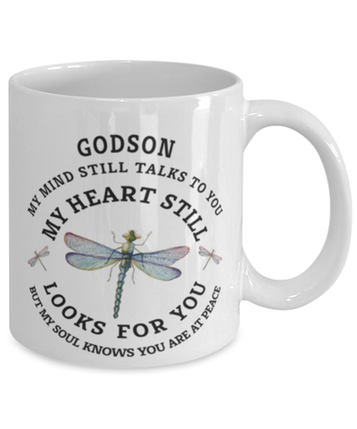 Godson In Loving Memory Mug Dragonfly My Mind Talks To You Memorial Keepsake Cup
