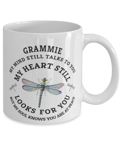 Grammie In Loving Memory Mug Dragonfly My Mind Talks To You Memorial Keepsake Cup