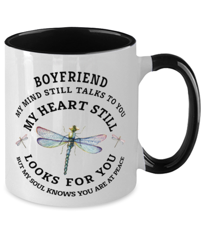 Boyfriend In Loving Memory Mug Dragonfly My Mind Talks To You Memorial Keepsake Two-Toned Cup