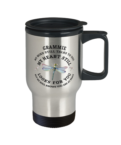 Grammie In Loving Memory Travel Mug Dragonfly My Mind Talks To You Memorial Keepsake Cup