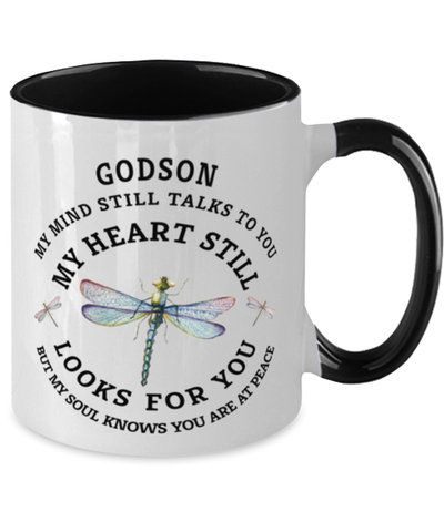 Godson In Loving Memory Mug Dragonfly My Mind Talks To You Memorial Keepsake Two-Toned Cup