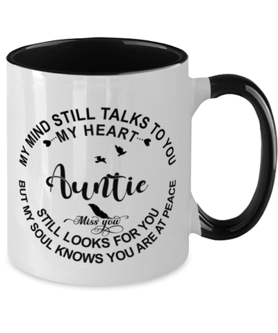 Auntie Loving Memory Mug My Mind Talks To You Remembrance Keepsake Two-Toned 11oz Cup