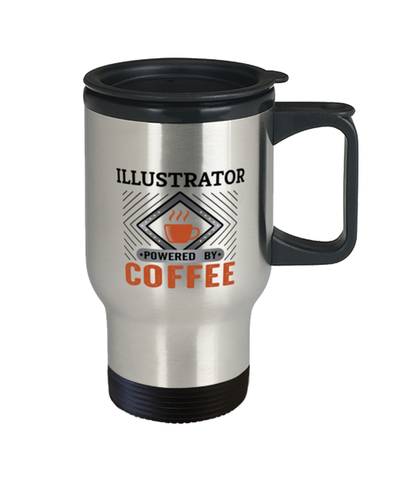 Image of Illustrator Travel Mug Powered by Coffee Occupational 14 oz Cup