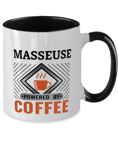 Image of Masseuse Mug Powered by Coffee Occupational Two-Toned 11 oz Cup