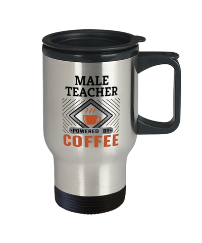 Image of Male Teacher Travel Mug Powered by Coffee Occupational 14 oz Cup