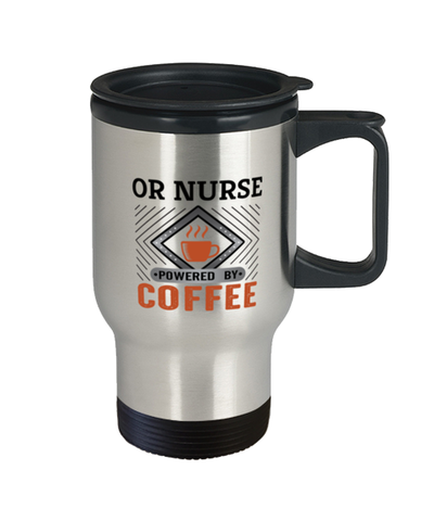 Image of OR Nurse Travel Mug Powered by Coffee Occupational 14 oz Cup
