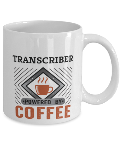 Image of Transcriber Mug Powered by Coffee Occupational 11oz Ceramic Cup