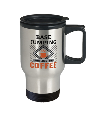 Image of BASE Jumping Travel Mug Powered by Coffee Hobby 14 oz Cup