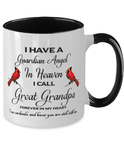 Great Grandpa Memorial Cardinal Mug Guardian Angel Remembrance Two-Tone Sympathy Cup