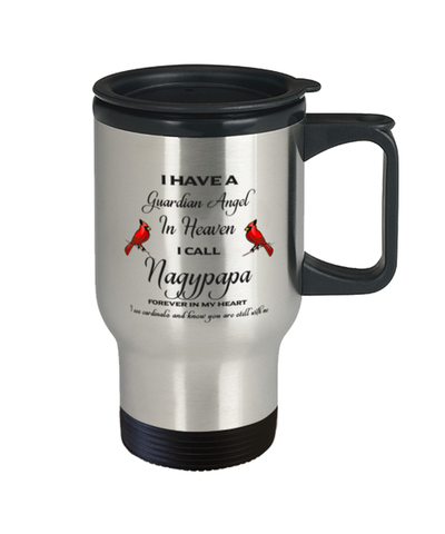Image of Nagypapa Memorial Cardinal Travel Mug Guardian Angel Remembrance Sympathy Cup