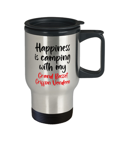 Image of Grand Basset Griffon Vendeen Travel Mug, Happiness is Camping With My Dog, Travel Coffee Cup