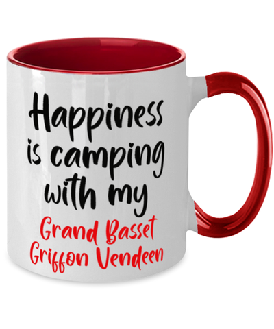 Grand Basset Griffon Vendeen Mug Happiness is Camping With My Dog  Two-Toned Coffee Cup