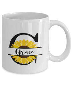 Grace Sunflower Mug Personalized 11 oz Coffee Cup for Home or Work