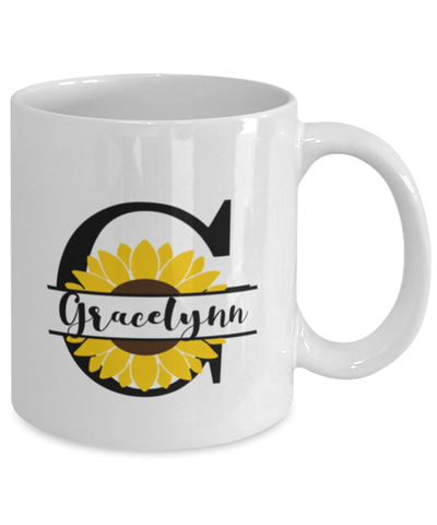 Image of Gracelynn Sunflower Mug Personalized 11 oz Coffee Cup for Home or Work